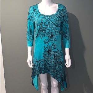 Tops - INDIA BRAND WOMANS teal tunic top SZ.L